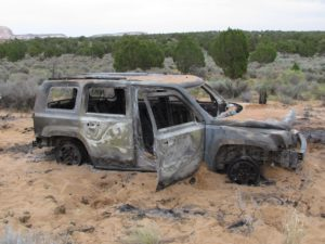 Tourist to White Pocket, AZ Burn Rental Car to the Ground