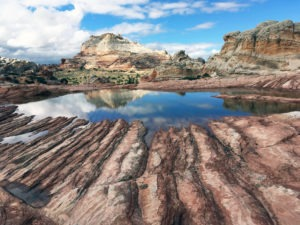 White Pocket Butte with reflection pool
